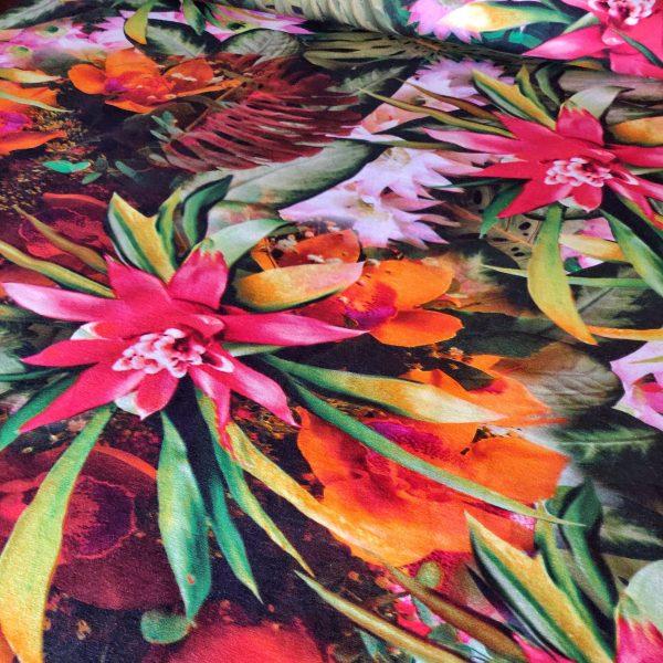 Tissu jersey coton Denise imprimé tropical vendu par Avril fabrics